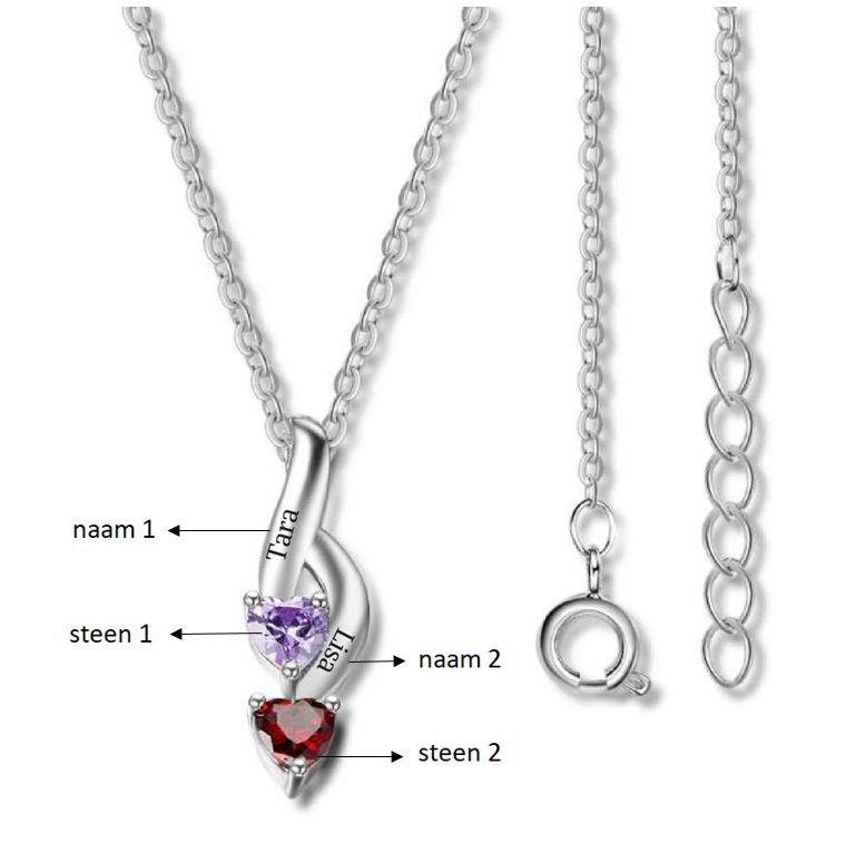 Necklace with birth stones 'hearts'
