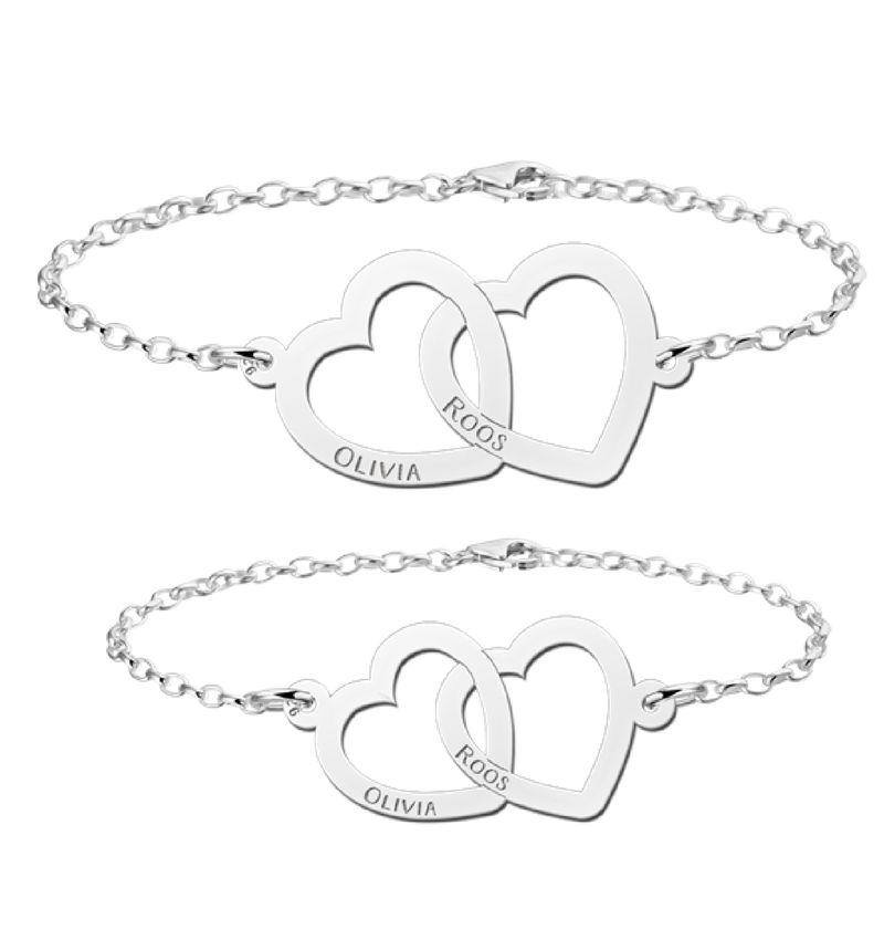 Names4ever moeder en dochter armbanden set 'hartjes'