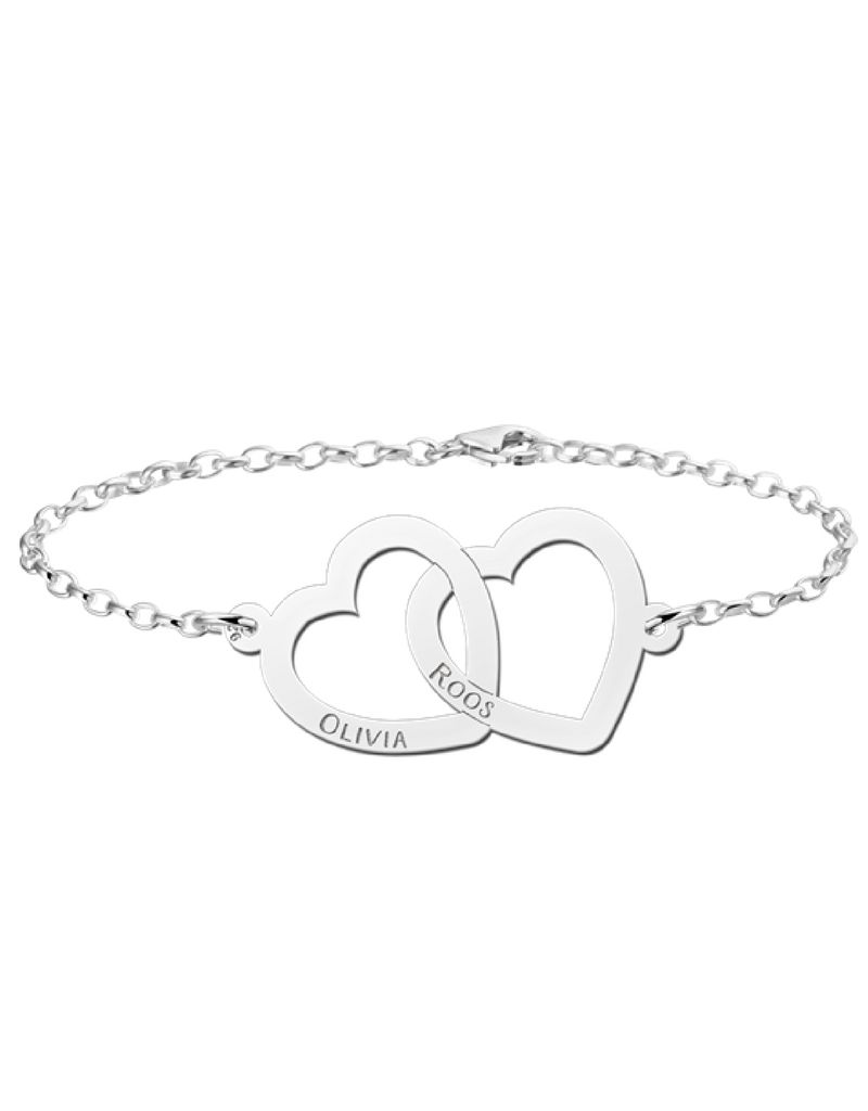 Names Names4ever mother and daughter bracelets set 'hearts'