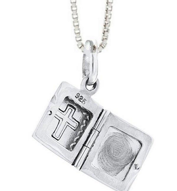 KAYA sieraden Zilveren Medaillon Ketting 'Holy Bible'