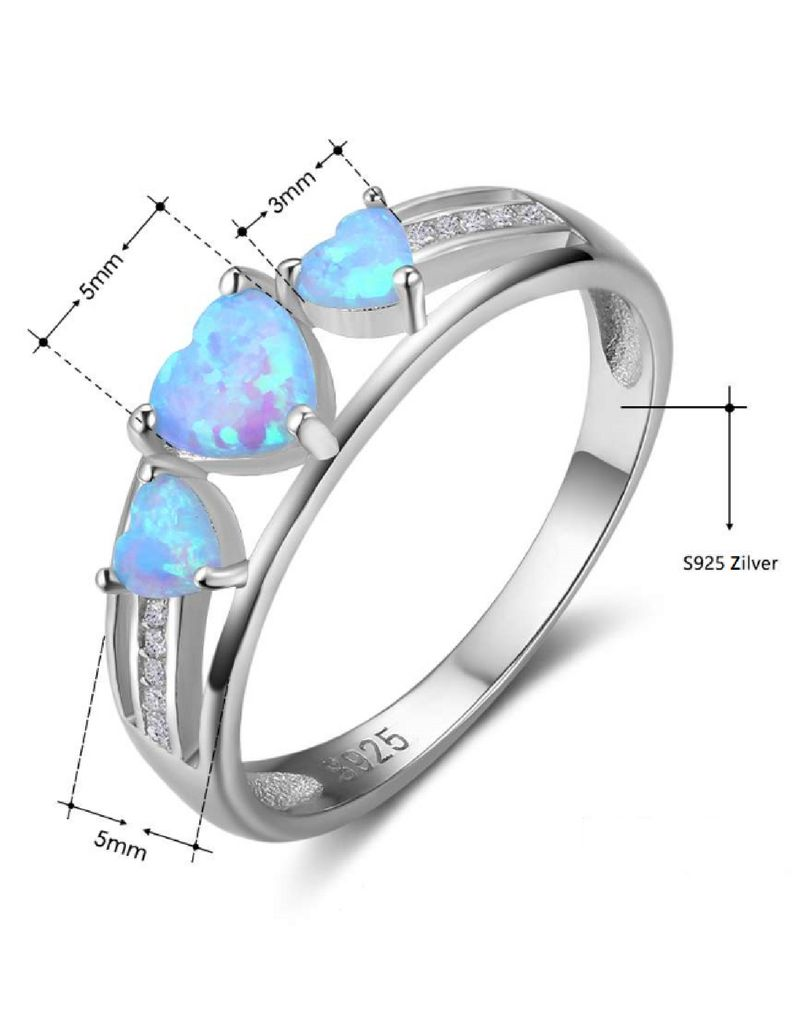 Silver ring with opal stone '3 hearts'