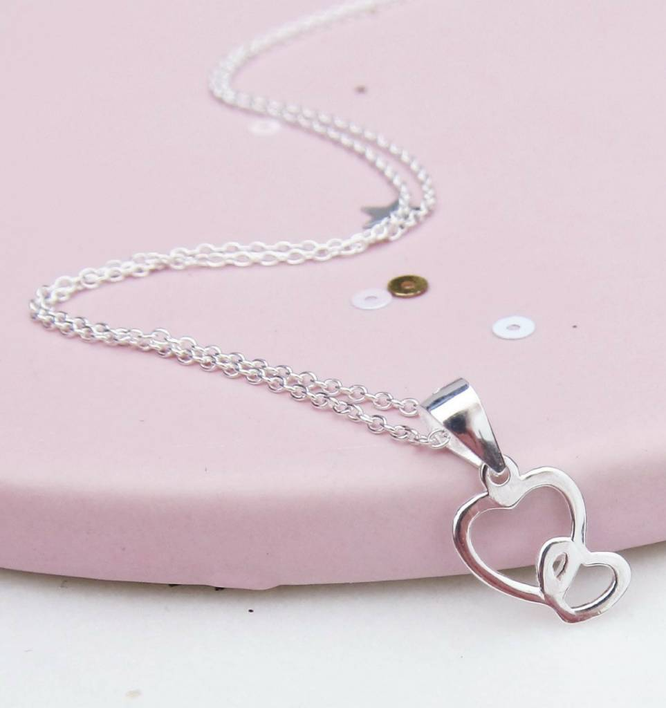Silver necklace 'your heart near me'