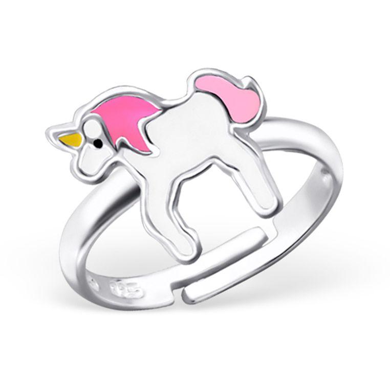 Zilveren kinderring 'Unicorn'