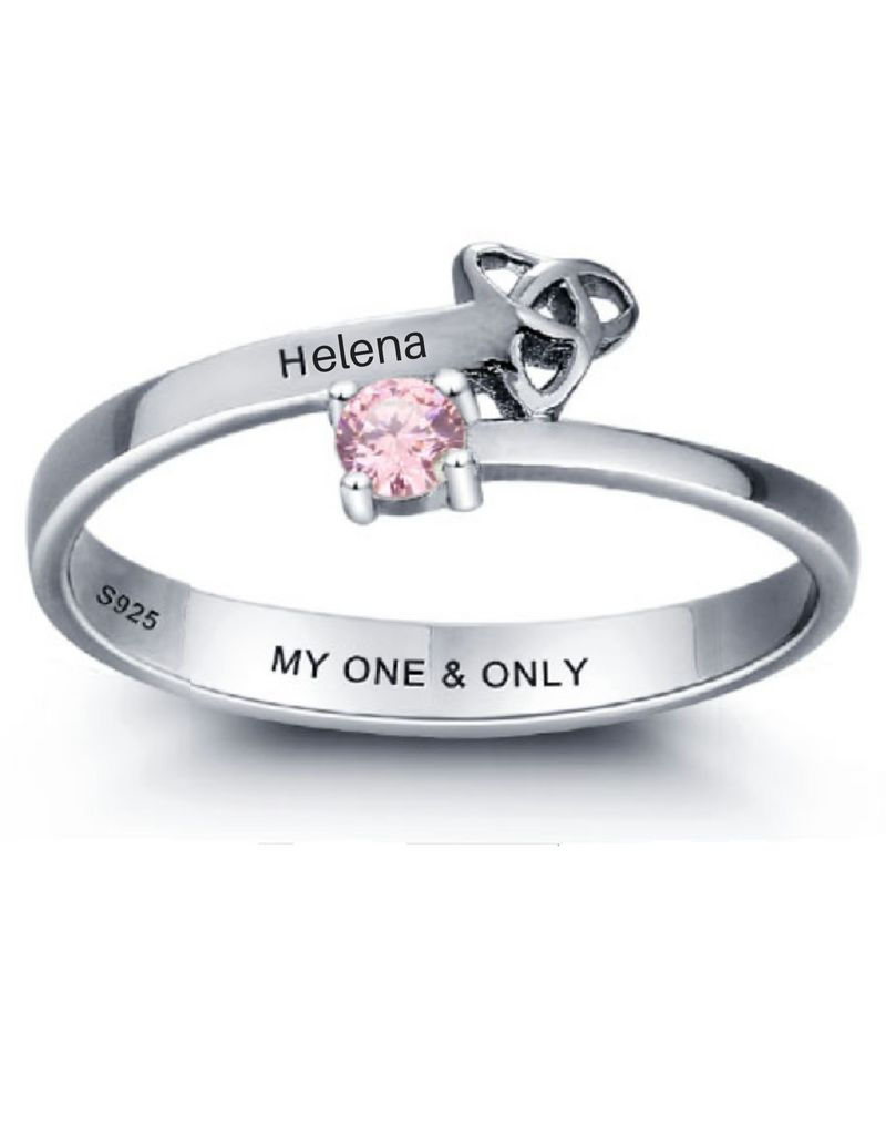 Silver ring with two words + birthstone - Copy