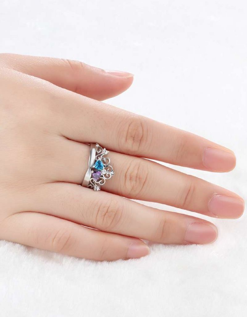 Gepersonaliseerde ring met geboortestenen 'forever love'