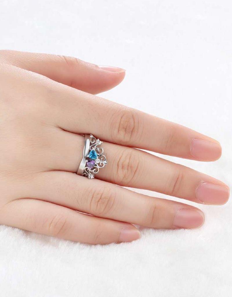 Gepersonaliseerde sieraden Zilveren Gepersonaliseerde Ring 'Crown' met Geboortestenen en Gravure