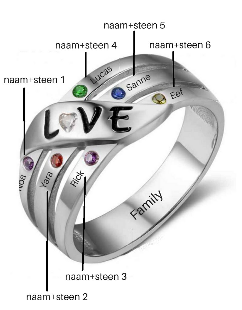 Ring met 6 geboortestenen 'love'