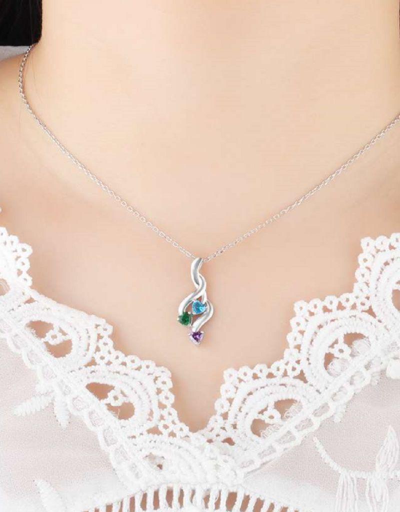 juwelier Gepersonaliseerde ketting 'drie kids' met Geboortestenen