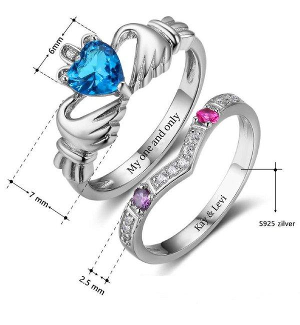 Gepersonaliseerde sieraden Zilveren Gepersonaliseerde Ringenset 'Complete' met Geboortestenen en Gravure