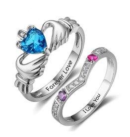 Gepersonaliseerde sieraden Silver rings with birth stones 'claddagh'