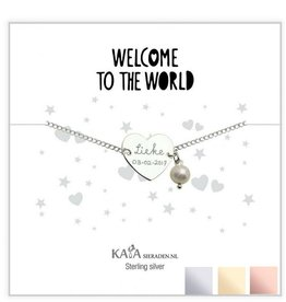 KAYA Silver graveerarmband 'Welcome to the world' with Pearl