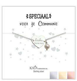 KAYA Silver graveerarmband 'You have been baptized, congratulations' with Pearl - Copy