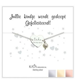 KAYA Silver graveerarmband 'You have been baptized, congratulations' with Pearl