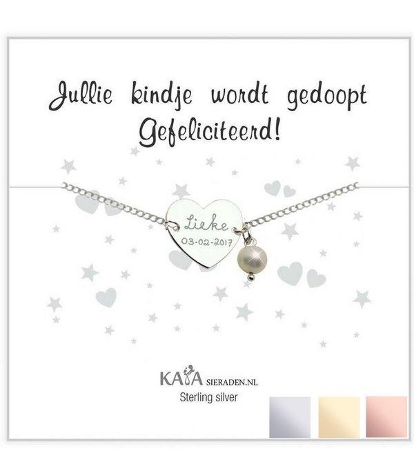Sieraden graveren Cadeaudoosje 'Jullie kindje wordt gedoopt, gefeliciteerd!' met zilveren armbandje 'Sweetheart'
