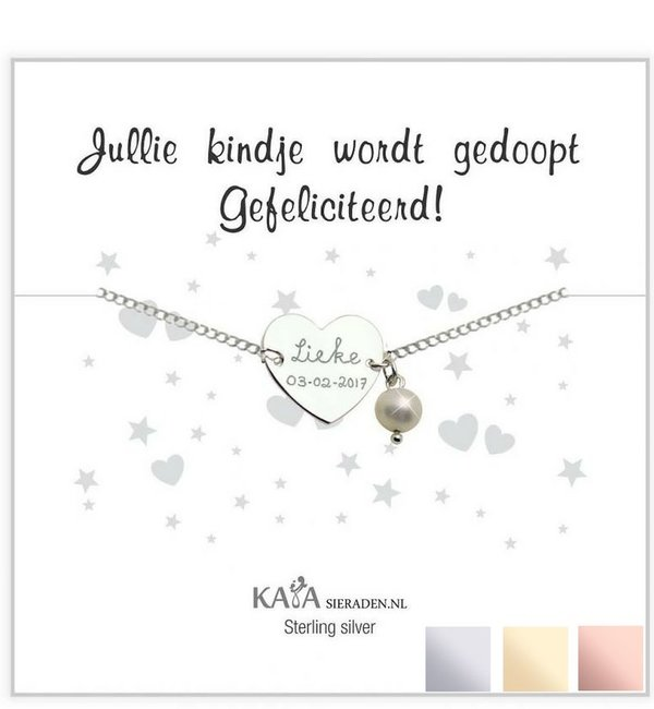 Sieraden graveren Silver graveerarmband You have been baptized, congratulations' with Pearl