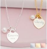 Zilveren ketting 'Tiffany Heart' met gravure