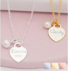 KAYA sieraden Silver Necklace 'Handwriting' heart 12 x 12 mm
