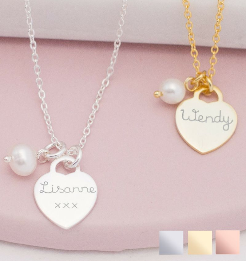 Silver Necklace 'Handwriting' heart 12 x 12 mm