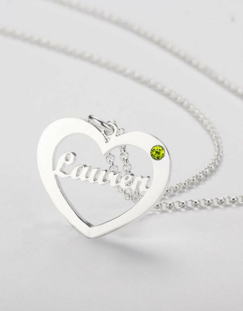 gravure L Silver necklace with birthstone and name