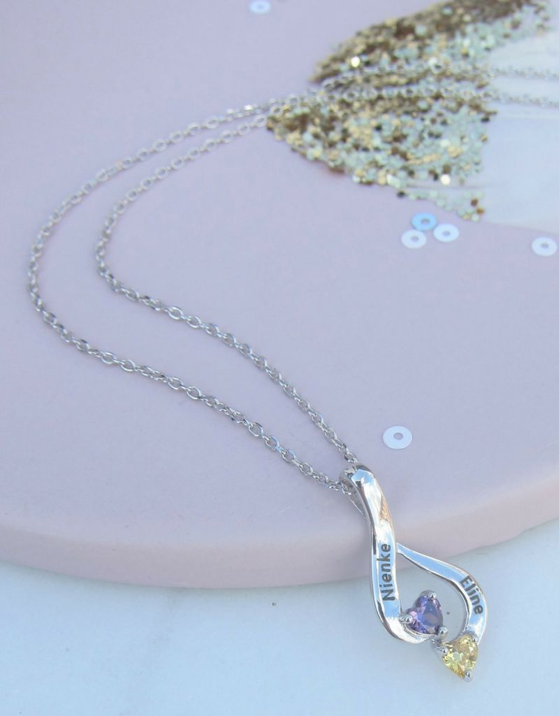 Gepersonaliseerd Necklace with birth stones 'two hearts'