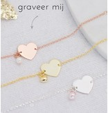 Silver graveerarmband You have been baptized, congratulations' with Pearl