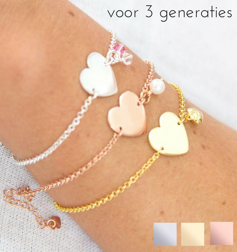 KAYA Drie generatie armbanden 'Sweetheart' met gravure