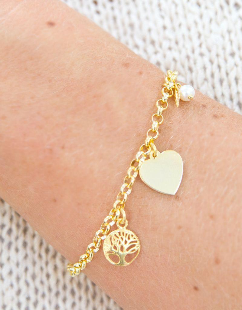 KAYA 18 carat gold plated bracelet 'Jasseron' engraving bed + life tree