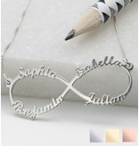"""gravure L Silver Infinity necklace 'four names, """"sweet mom gift! - Copy"""