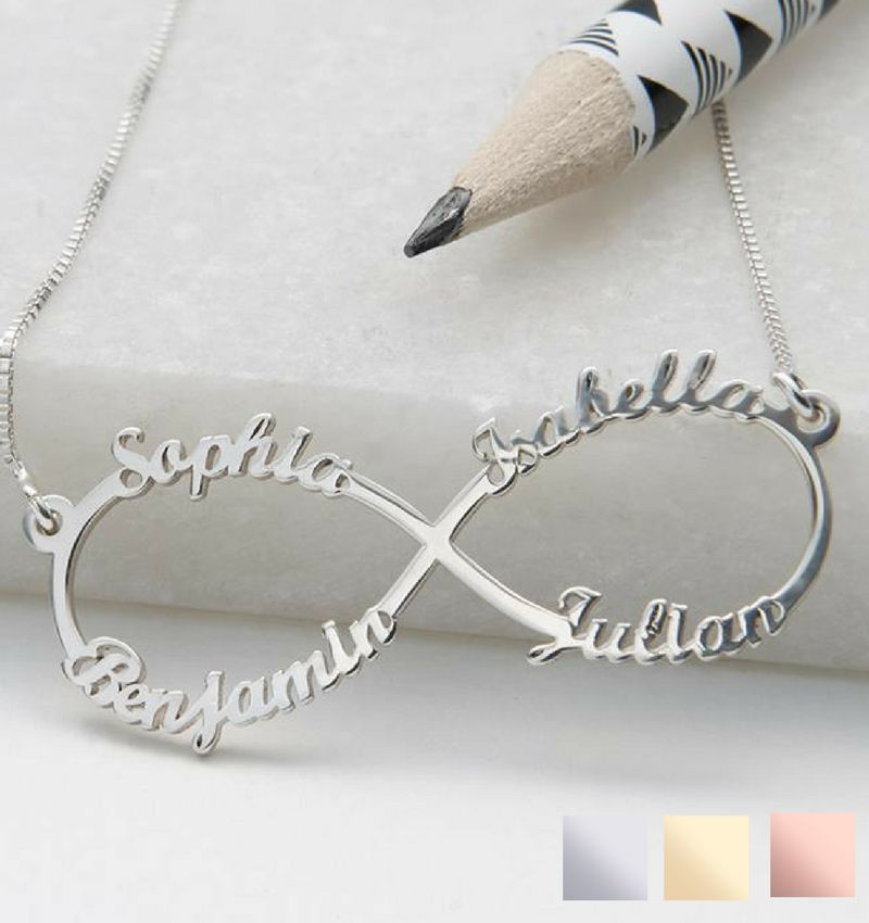 """juwelierL Silver Infinity necklace 'four names, """"sweet mom gift! - Copy"""