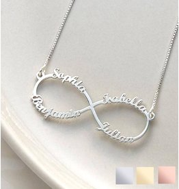 Gegraveerde sieraden Silver Infinity necklace 'four names' - Copy