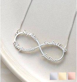 Gepersonaliseerde sieraden Silver Infinity necklace 'four names' - Copy