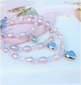KAYA sieraden 3 generatie armbanden 'Pink Princess' met hartjes