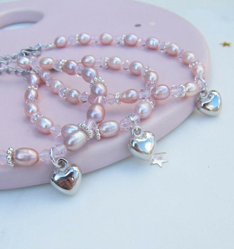 3 generatie armbanden 'Pink Princess' met hartje