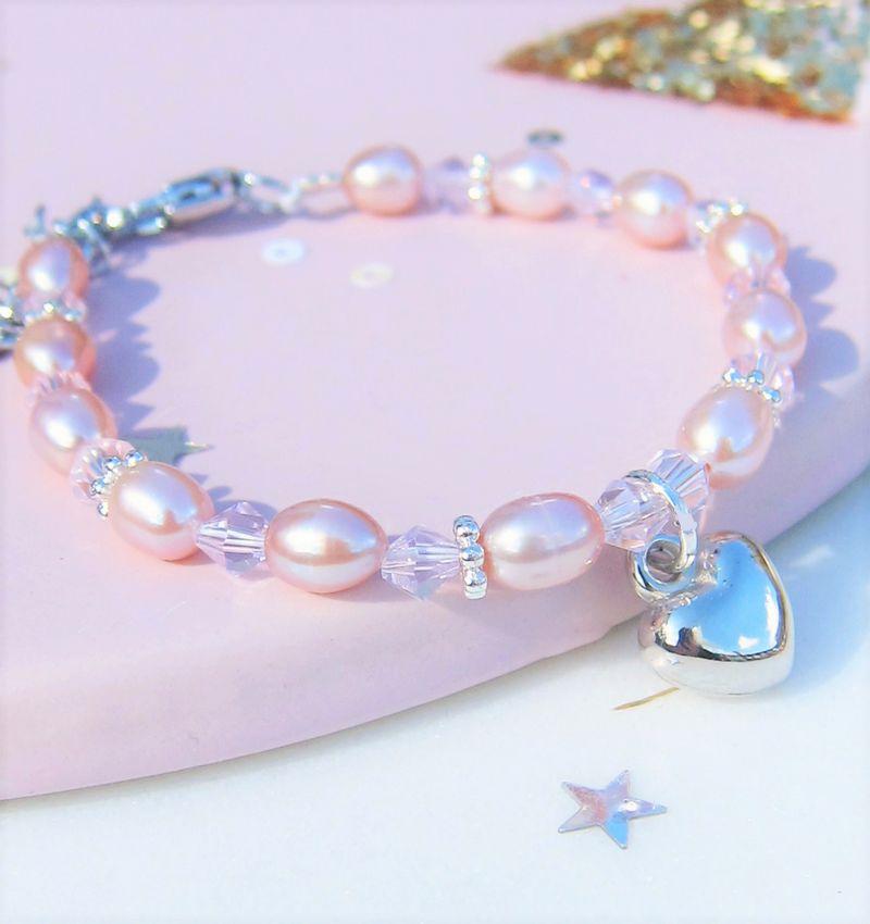 Kinderarmband 'Pink Princess' met hartje