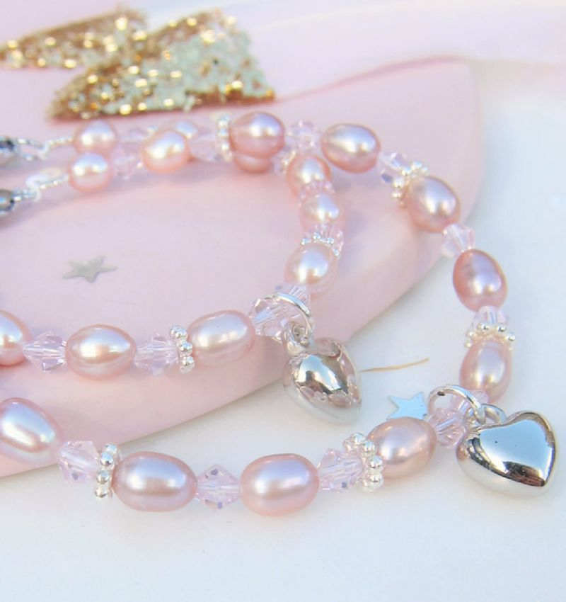 Mother daughter bracelets 'Princess' with heart