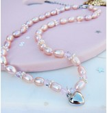 KAYA Children necklace 'Infinity White' heart with globe