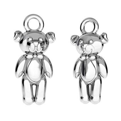 Silver children's necklace with engraving begging 'teddy bear'
