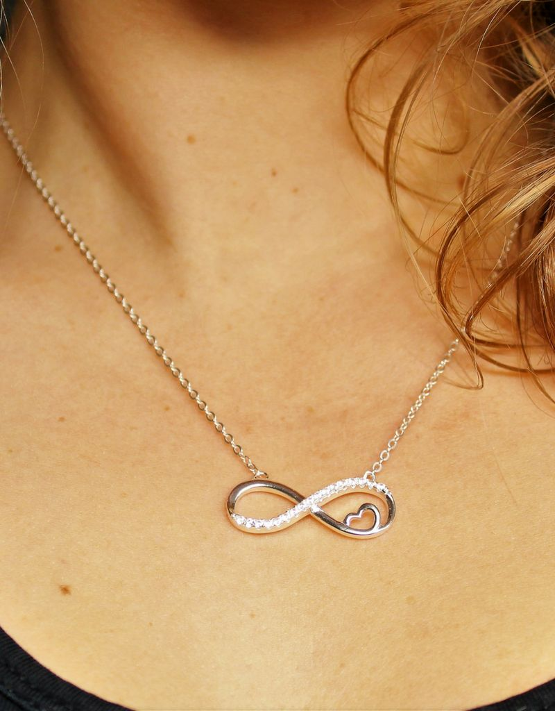 Zilveren infinity ketting 'Forever in my Heart'