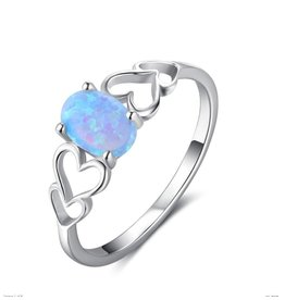 KAYA Silver ring with opal stone '3 hearts' - Copy
