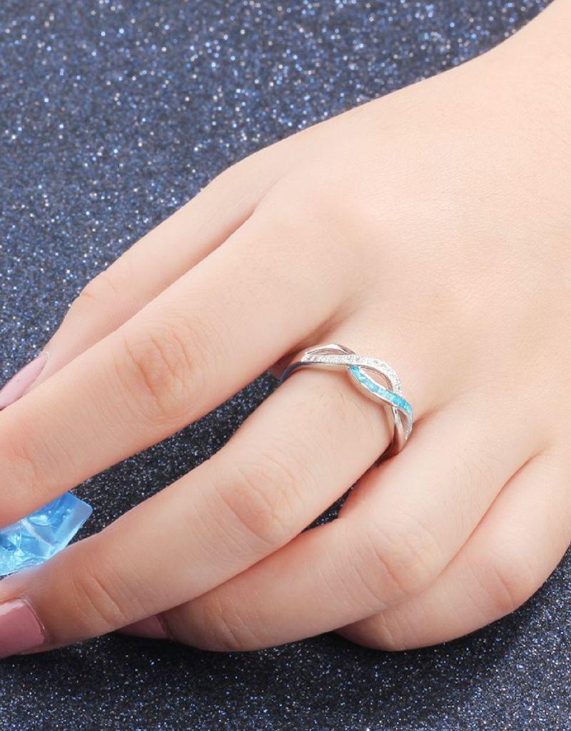 KAYA sieraden Zilveren Ring 'Blue Sky' met Infinity Teken
