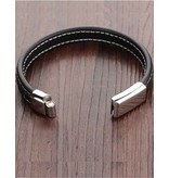 KAYA sieraden Black bracelet for men 'Leather'