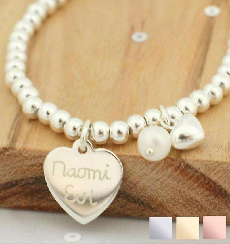 Zilveren armband 'Cute Balls' Graveer hartje & Parel & Hartje