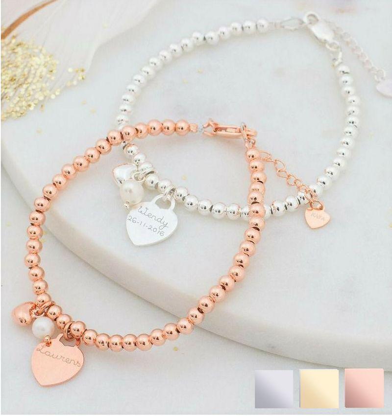 Bracelet 'Cute Balls' Engrave Heart & Pearl & Heart