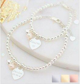 Silver bracelets set 'Cute Balls' engraved