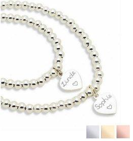 Zilveren armbanden set 'Cute Balls' met gravering