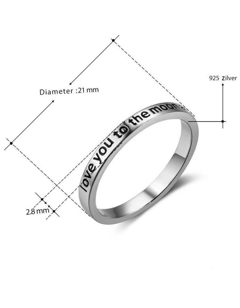 KAYA sieraden Zilveren Ring 'Moon & Back'