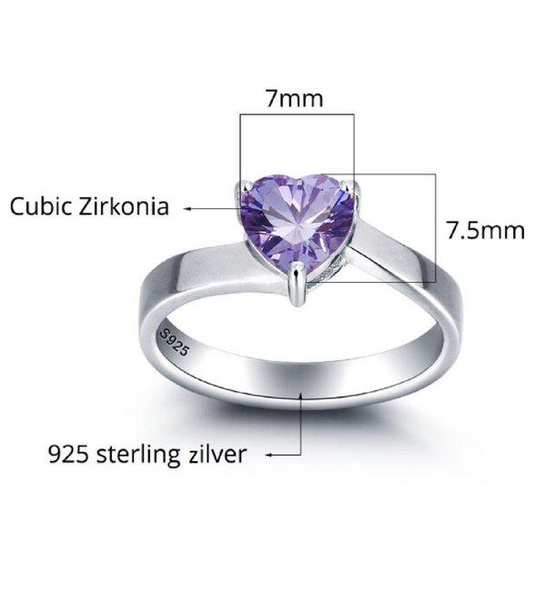 Gepersonaliseerde sieraden Zilveren Gepersonaliseerde Ring 'Cute Heart' met Geboorstesteen en Gravure