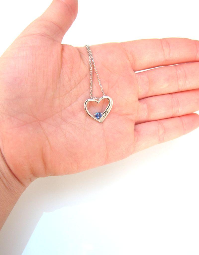 Gepersonaliseerde sieraden Zilveren Gepersonaliseerde Ketting 'Big Heart' met Geboortestenen en Gravure