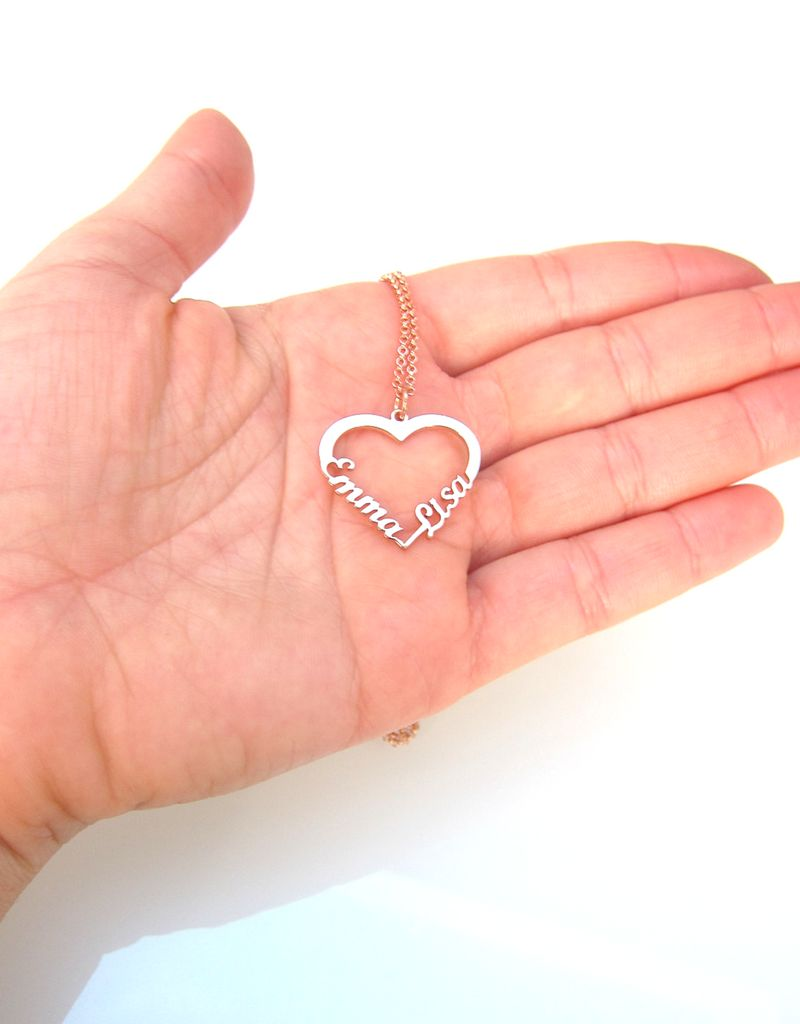 """Silver heart-shaped necklace """"2 names'"""