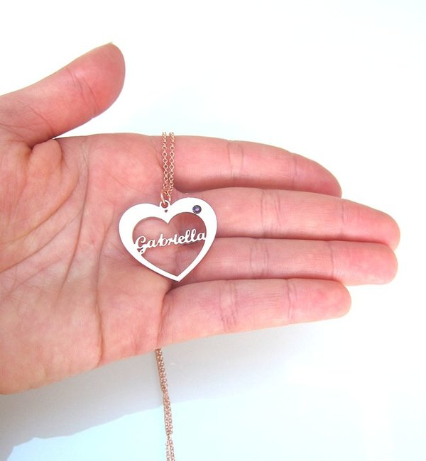 Gegraveerde sieraden Geboortesteenketting 'My Love' met Naam